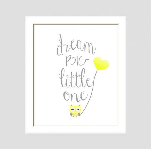Dream Big Little One Owl Nursery Art