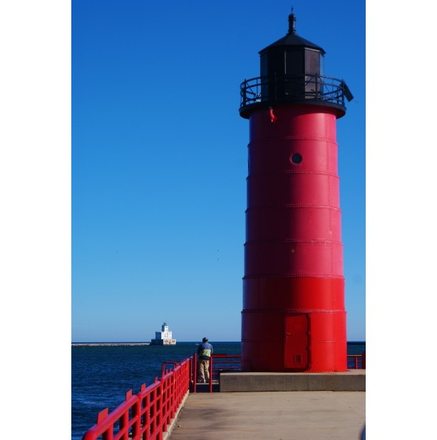 16X20 POSTER RED LIGHT HOUSE