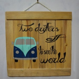 Rustic VW van wooden wall art