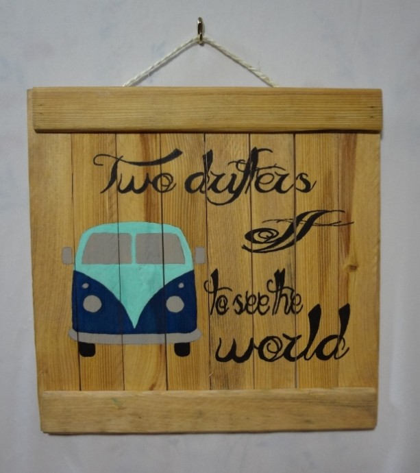 Rustic VW van wooden wall art