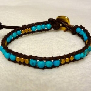 Brown Leather Bracelet with Turquoise and Gold Beads