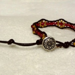 Brown Leather Bracelet with Ruby and Gold Glass Beads