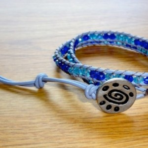 Grey Leather Wrap Bracelet with Cobalt and Aqua Glass Beads
