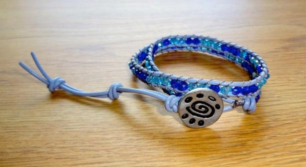 Grey Leather Wrap Bracelet with Cobalt and Aqua Glass Beads
