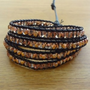 Black Leather Wrap Bracelet with Gold Glass Beads