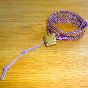 Lilac and Amethyst Leather Wrap Bracelet with Gold Glass Beads