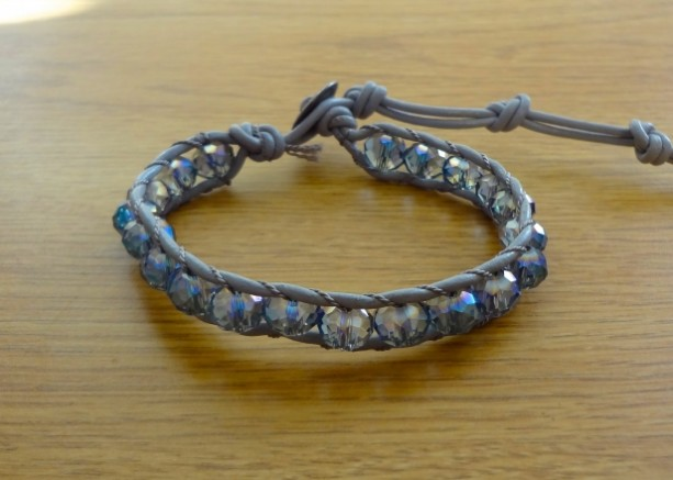 Grey Leather Bracelet with Crystal AB Glass Beads