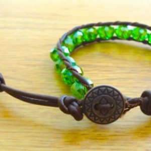 Brown Leather Bracelet with Green Glass Beads