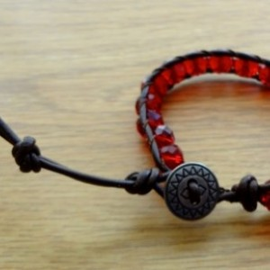 Brown Leather Bracelet with Garnet Glass Beads