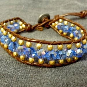 Brown Leather Bracelet with Blue and Gold Glass Beads