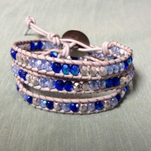 Grey Wrap Bracelet with Mixed Glass Beads