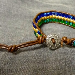 Brown Leather Bracelet with Blue, Green, and Gold Glass Beads