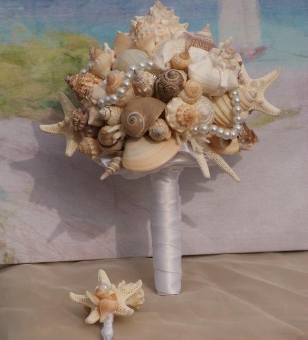 Seashell Bridal Wedding Bouquet For A Beach Destination Summer