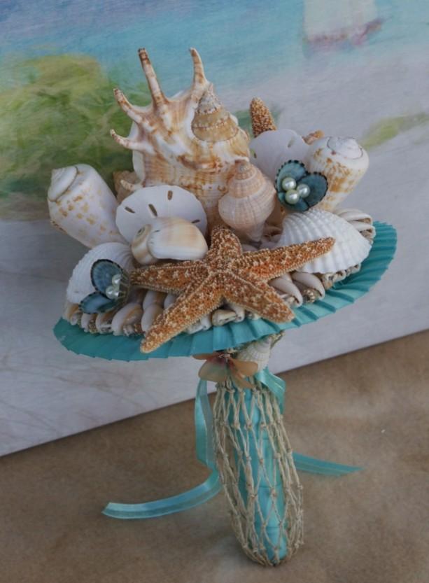 Bridesmaid Seashell And Starfish Bouquet For Beach Destination