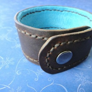 Men's Distressed Lined Brown Leather Cuff