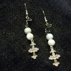 Cross Wire Wrapped Dangle Earrings
