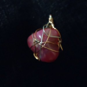 Wire Wrapped Magenta Stone Pendant