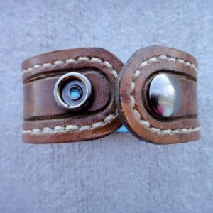 Distressed Handstitched Brown Leather Cuff