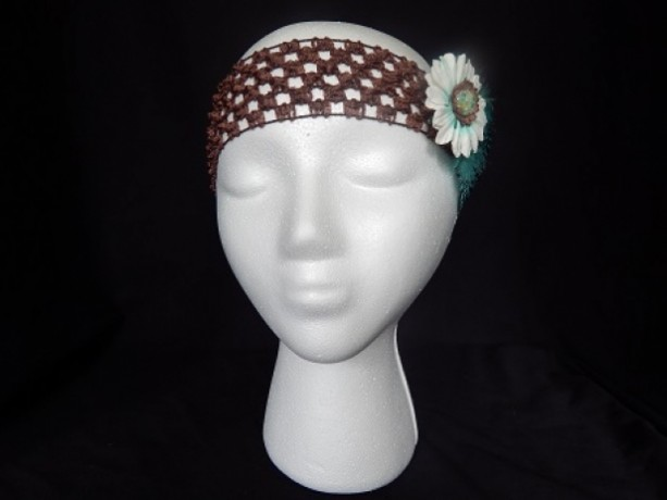Turquoise Feather White Paper Flower Headband
