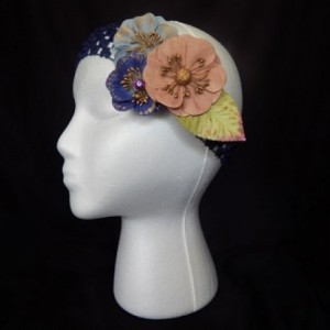 Blue Paper Flower Headband