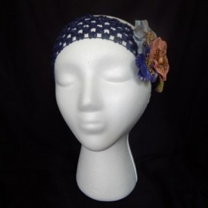 Blue Paper Flower Headband
