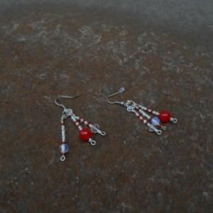 Red jade, moonstones and crystal earring