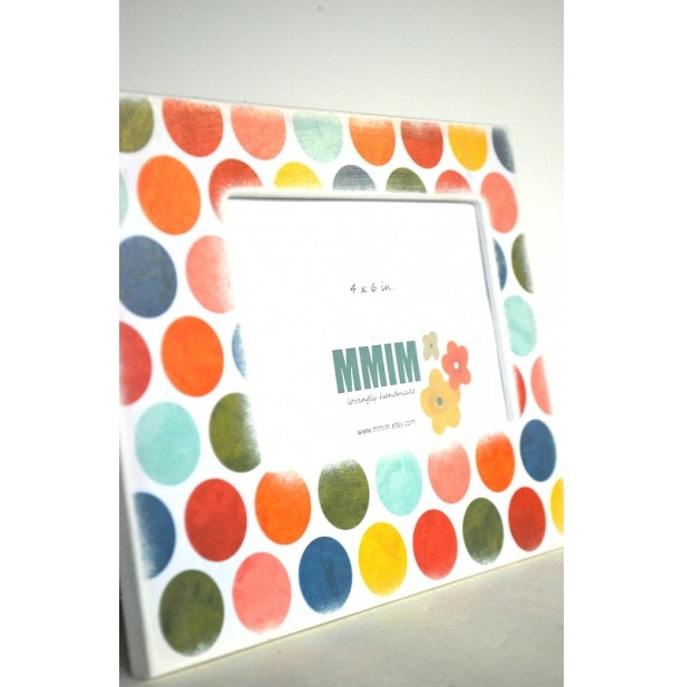 4 x 6 Picture Frame - Color Me Happy Polka Dots Picture Frames | aftcra