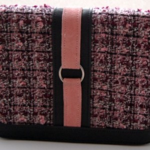 Black and pink leather, fabric and suede accordion clutch with removable zippered pocket
