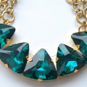 Green Emerald Triangle Gold Statement Necklace