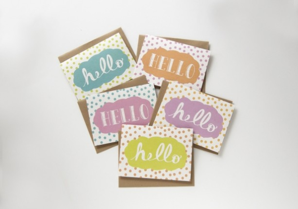 set of 10 hello cards. stationery set. hand drawn typography. polka dots. gift idea. note cards. wedding gift. birthday gift.