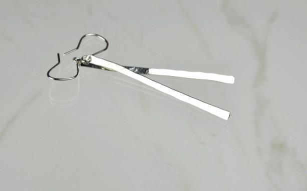Sterling Silver Long Bar Earrings, Stick Earrings, Hammered Silver Earrings