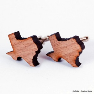 Laser Cut Walnut Cufflinks - State of Texas