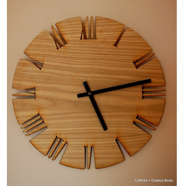 Unique Roman Style Wood Wall Clock Cutout White Oak clock moder
