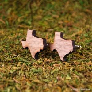 Laser Cut Walnut Cufflinks - State of Texas