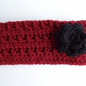 Crochet Chunky Headband with Flower - Ear Warmer
