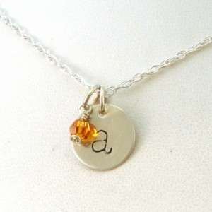 Lowercase Initial Necklace with Birthstone