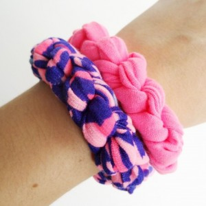 Pink, Navy, and Turquoise Patterned Bracelet Set