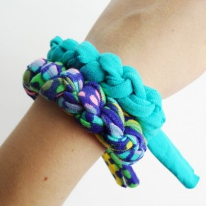 Turquoise, Navy, Pink, and Green Patterned Chunky Bracelet Stack Set