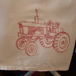 Red Tractor Floursack Dishtowel