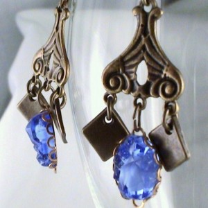 Rhapsody in Blue Earrings Vintage Style