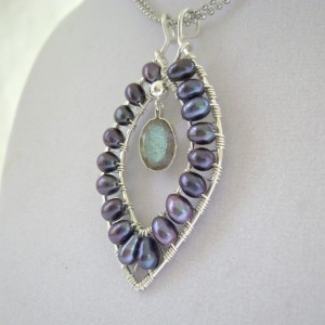 Labradorite Pendant, Black Freshwater Cultured Pearls, Sterling Silver, Marquise, Wire Wrapped, Faceted Gemstone