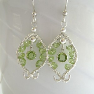 Peridot Sterling Silver Earrings, Wire Wrapped Peridot Gemstones