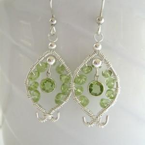 Peridot Sterling Silver Earrings, Wire Wrapped Peridot Gemstones