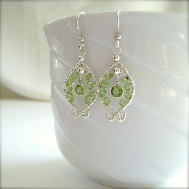 Peridot Sterling Silver Earrings Wire Wred Gemstones