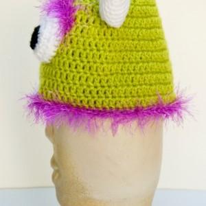 Hand Crocheted Fuzzy 3-D Monster Beanie