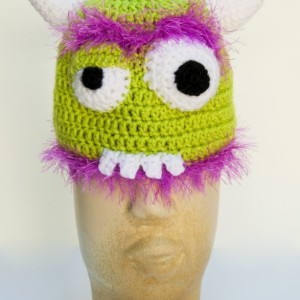 Hand Crocheted Fuzzy 3-D Monster Beanie