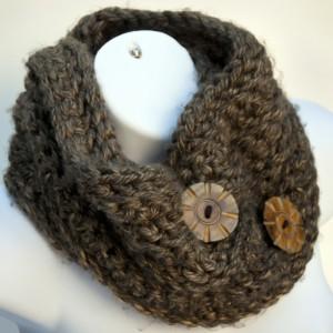 Hand Crocheted Chunky Yarn Infinity Cowl
