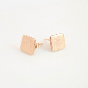 Tiny Geo Earring Studs. Dainty Little Golden Bronze Hammered Posts. Geo Minimalist Jewelry