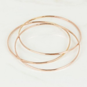 Set of Three 14K Rose Gold Filled Bangles, Thin Bangles