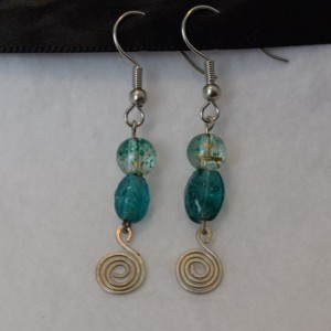 Teal Dangle Earrings with Spiral